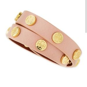 Pink Leather Tory Burch Wrap-Around Bracelet